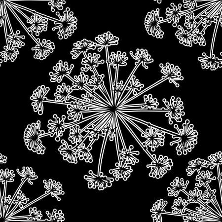 inflorescence: Image of dill lines on a black background. Silhouette of plants. Monochrome ihobrazhenie. Seamless pattern.