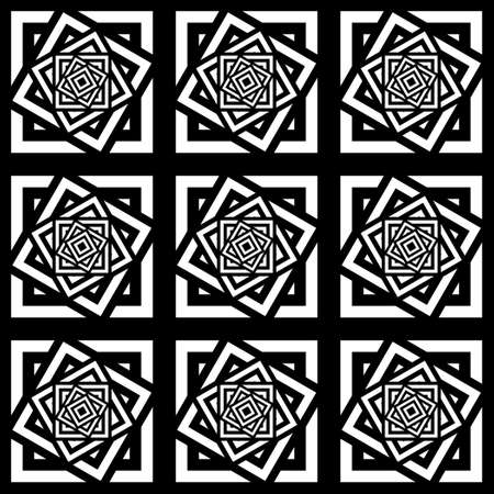 centric: Seamless image from different squares. Black and white image. Illustration
