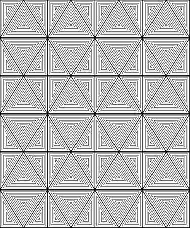 centric: Seamless pattern of triangles. The pattern of the lines. Monochrome image.