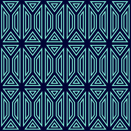 turquiose: Seamless pattern of turquoise geometric shapes. Blue background.