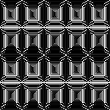 plurality: Seamless pattern of a plurality of lines. Geometric pattern. Squares and trapeze. Black and white image.