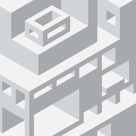 voluminous: Isometric background with shades of gray. Voluminous shapes. Buildings and facilities. Illustration