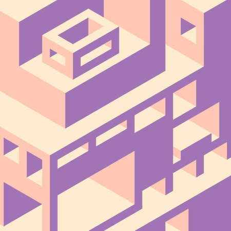 voluminous: Isometric background with abstract buildings. Voluminous shapes. Buildings and facilities. Illustration
