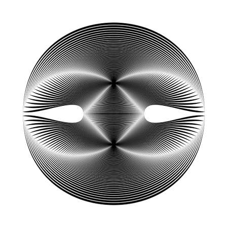 irridescent: The original sphere on a white background. Black and white image.