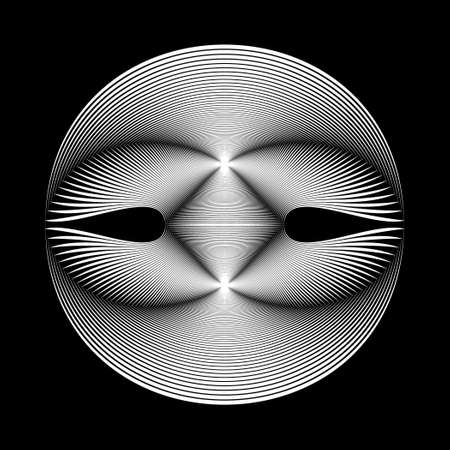 irridescent: The original sphere on a black background. Black and white image. Illustration