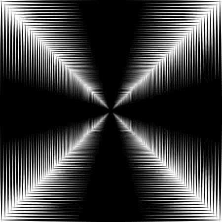 irridescent: Corridor of black lines on a white background. Black and white image. Illustration