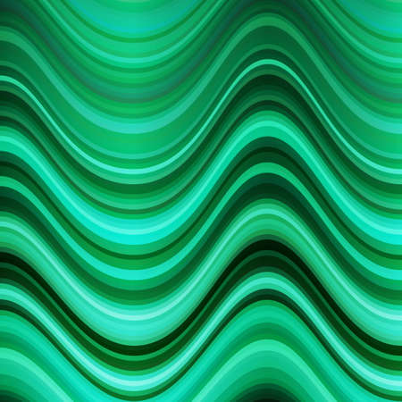 Background of shiny wavy lines. Shades of green. Bright background. Illustration
