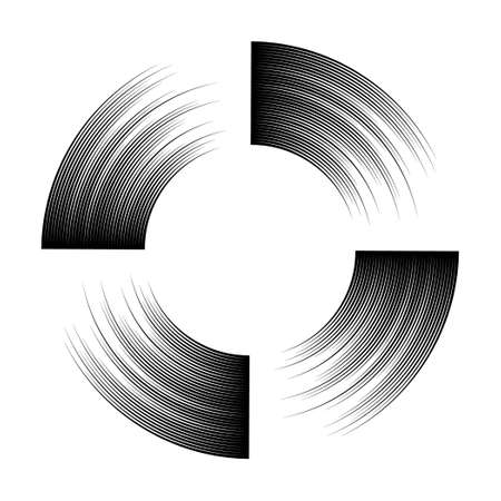 sectors: Frame in engraving style. Circle and sectors. The black lines on a white background. Illustration