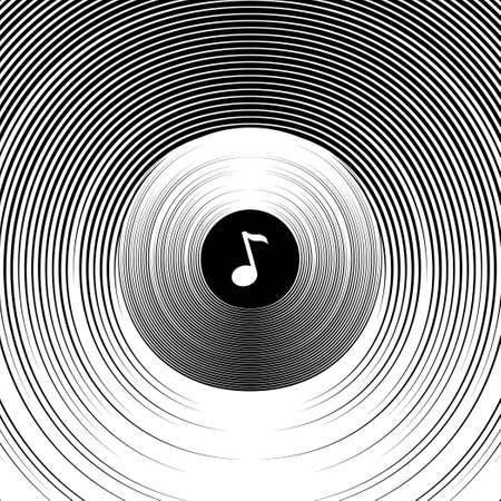 Abstract background on a musical theme. Circles and spheres. Bela note on a black background. Subwoofer. Musical speaker .