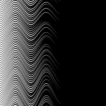 digital design: White wave on a black background. Engraving style.
