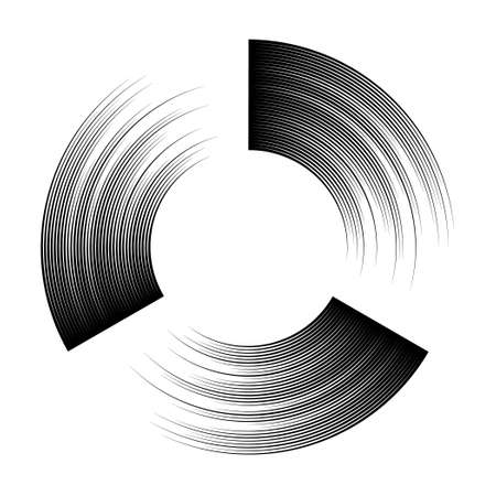 sectors: Round frame in style of engraving. Circle and sectors. The black lines on a white background.