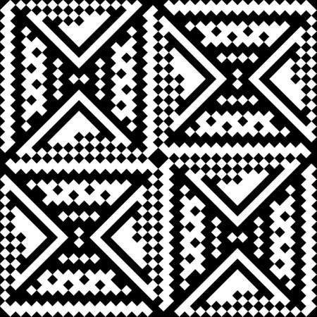 discrete: Black-and-white pattern of squares. Seamless pattern of pixels.