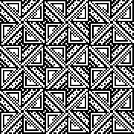 discrete: Seamless pattern of squares and triangles. Black and white image.