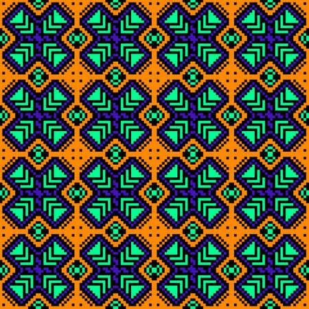 discrete: Bright image of pixels. Seamless pattern. Geometric figures. Ethnic style.