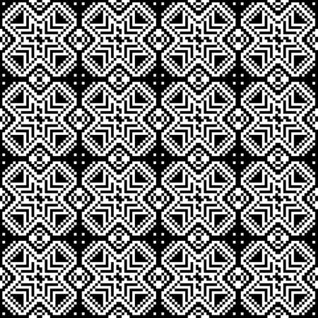 discrete: Black-and-white image of the pixels. Seamless pattern. Geometric figures.