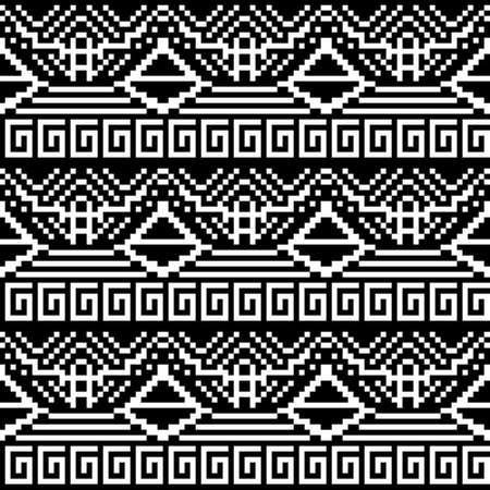 discrete: Seamless pattern of geometric shapes. Black and white image. Abstract silhouette of a person.