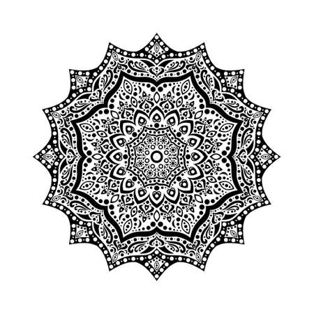 Black and white flower in the Indian style. Mandala.