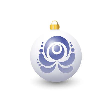 Decorating for Christmas trees. Steklyannny ball. Blue floral pattern. Gzhel.