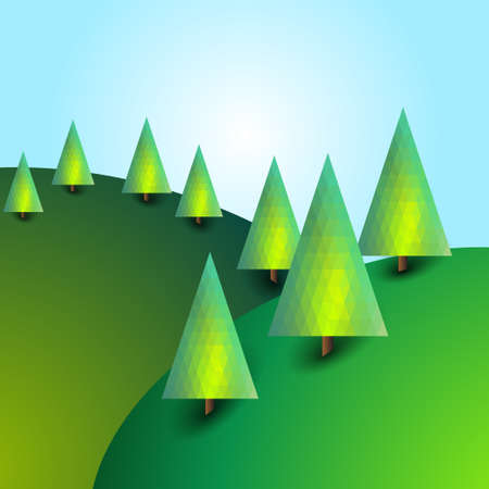 Landscape with hills and trees. Bright background. Bright sunny image.