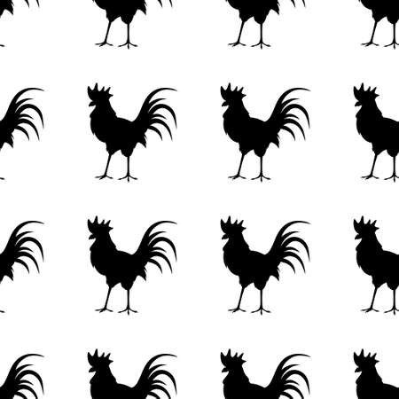 sleek: Black silhouette of the cock on white background. Seamless pattern. Domestic bird. Sleek style.