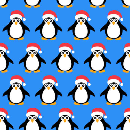 Cartoon penguins on a blue background. Seamless pattern in Christmas style. Packaging for New Year gifts.