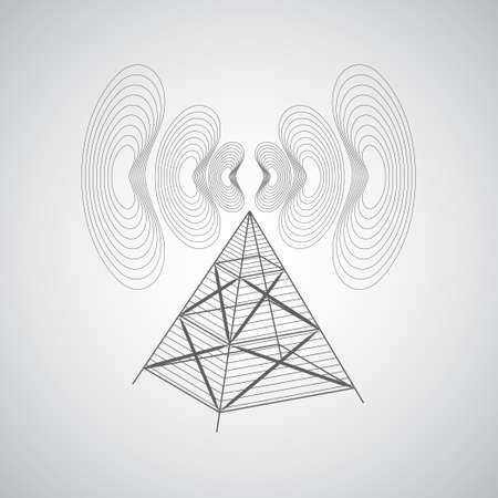 mobile communications: Abstract background with antenna and radio waves on a gray background. The transmission of information over long distances. Internet and mobile communications. Illustration