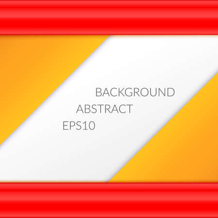 Abstract background with orange triangles and ribbons on a white background. Empty space for text.
