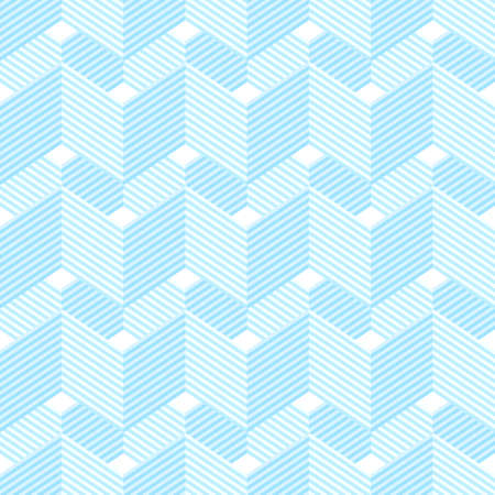 Seamless pattern with waves and zigzags. Isometric style. Shades of blue.