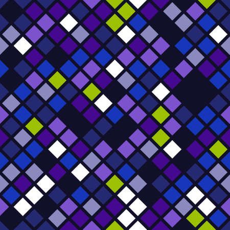 Seamless pattern of squares in different shades of lavender on a blue background. Geometric vector mosaic. Illustration
