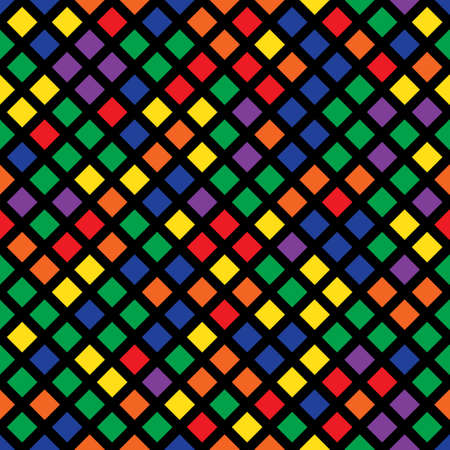 Cheerful seamless pattern of colored squares on a black background. Bright shades. Illustration
