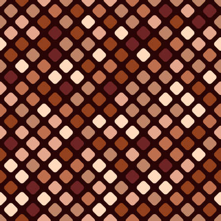 Seamless pattern of squares in different shades of brown on white background. Geometric vector mosaic. Shades of baked clay or dark wood.