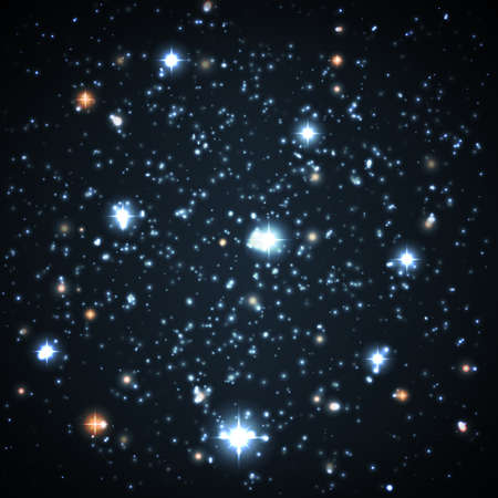 astral: Far and near stars on a dark background. Astronomy background. Illustration