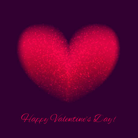 Beautiful red heart on a dark background. Sparks and glare. Congratulation to the holiday.