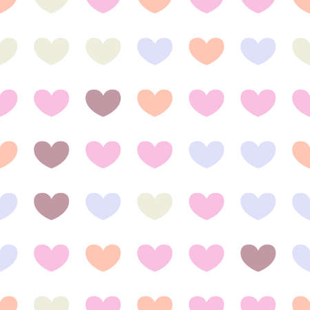 muted: Seamless pattern with colored hearts on a white background. Soft muted tones.