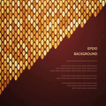 Abstract luxury gold pattern of a plurality of rhombus. Empty dark space for text. Gold scales. Ilustração
