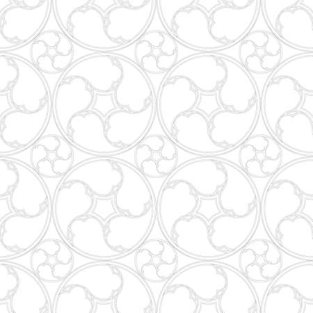 Seamless pattern from geometric elements in classical style. Volumetric forms. Winding plants. Ilustração