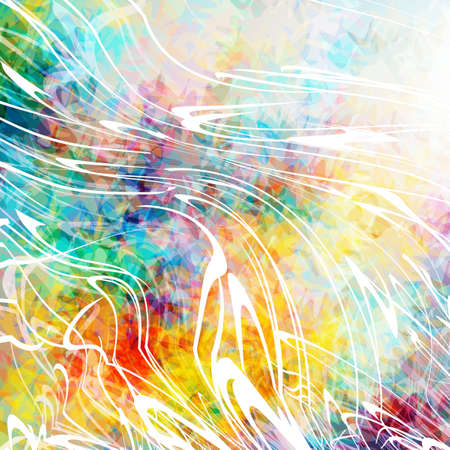 Beautiful abstract background with sprays of white paint. Colorful grunge texture. Color spots. Distorted lines. Illustration