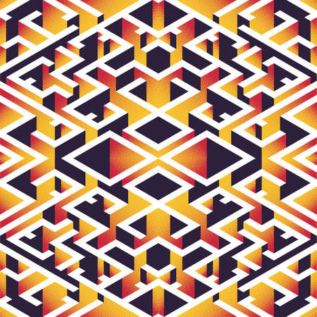 Abstract seamless isometric background. Vibrant shades of colors. Geometric textures and patterns. Illustration