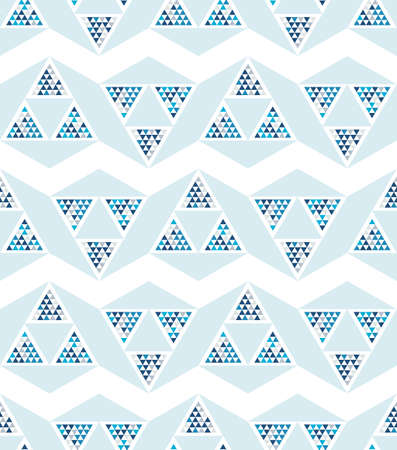 Abstract seamless pattern of triangles. Shades of blue.