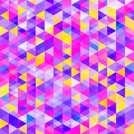Abstract pattern of colorful triangles. Bright cold color shades. Glow shapes.