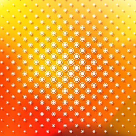 Abstraknyj background with a pattern of circles. Bright shades of yellow and red. Geometric texture. Illustration