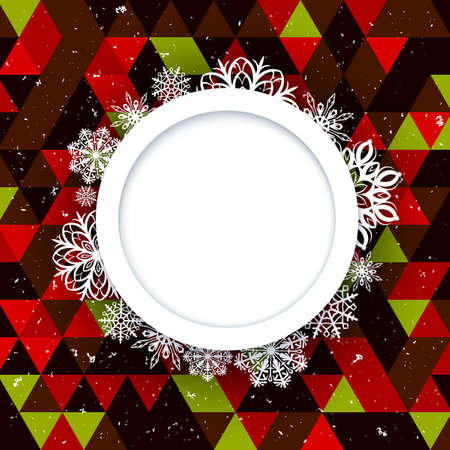 Abstract background Christmas style. Beautiful figured frame of snowflakes. Illustration