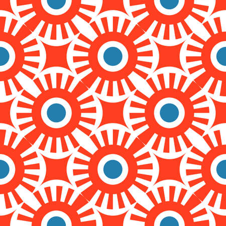 Abstract seamless pattern of lines and circles. Lattice of geometric shapes.