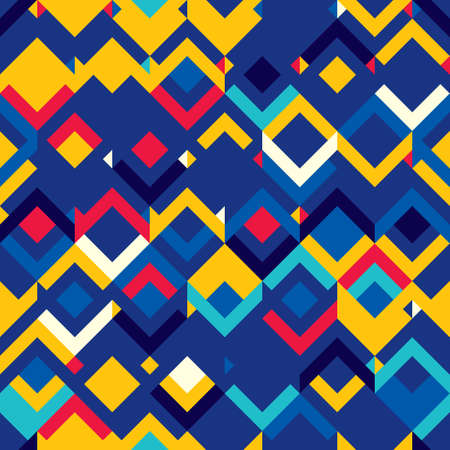Abstract seamless pattern of geometric shapes. Motion and fluctuation of shapes.