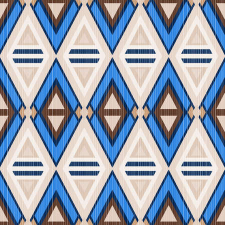 Abstract seamless pattern in ethnic style. Geometric texture of triangles and diagonal lines. Illustration