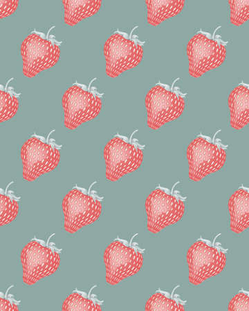 Seamless pattern with strawberries. Illustration