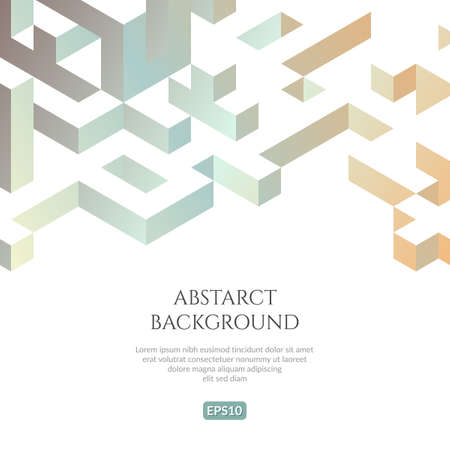 Abstact background in isometric style. The illusion of a three-dimensional image.  イラスト・ベクター素材