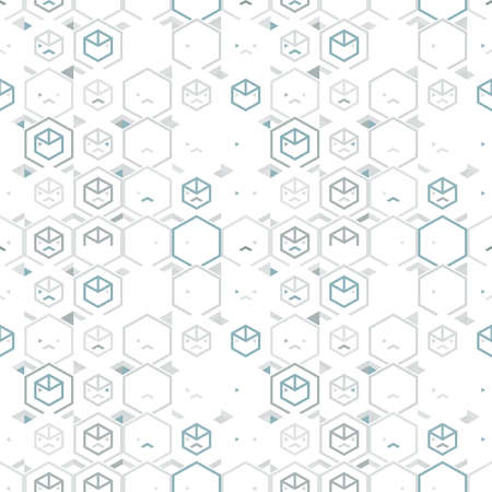 Abstract seamless pattern of hexagons and triangles. 免版税图像