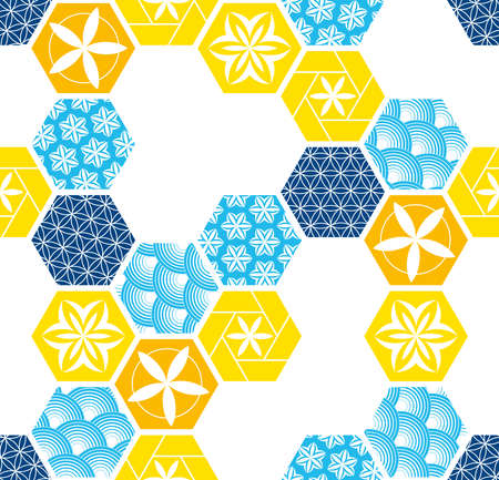 Seamless pattern for tiles in the bathroom. Drawing for home textiles. Pattern made of hexagons. Çizim