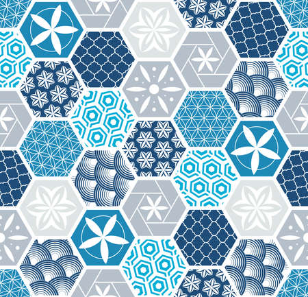 Seamless pattern for tiles in the bathroom. Drawing for home textiles. Pattern made of hexagons. Illustration